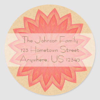Pink Flower Kaleidoscope Classic Round Sticker