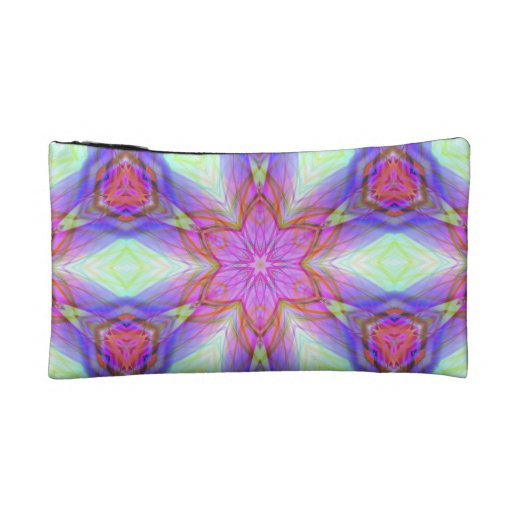 Pink flower kaleidoscope pattern. Very pretty colo Cosmetic Bag