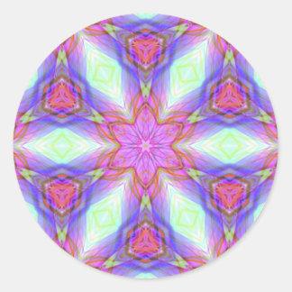 Pink flower kaleidoscope pattern. Very pretty colo Classic Round Sticker