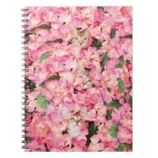Pink Flower Kitten Collage Notebook