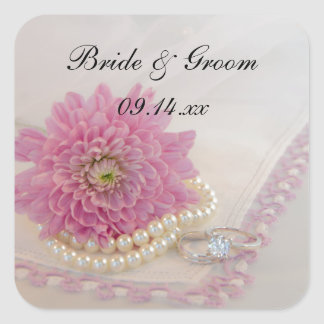 Pink Flower, Lace and Rings Wedding Envelope Seals