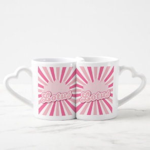 Pink Flower Lotus Coffee Mug Set