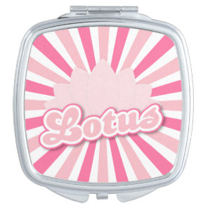 Pink Flower Lotus Compact Mirror