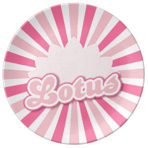 Pink Flower Lotus Dinner Plate