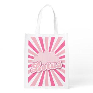 Pink Flower Lotus Grocery Bag