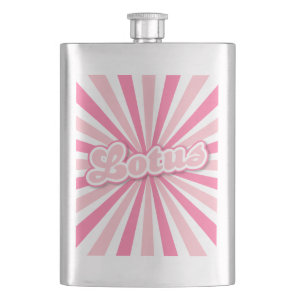 Pink Flower Lotus solar rays Hip Flask