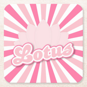 Pink Flower Lotus Square Paper Coaster