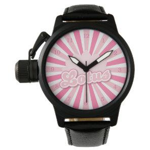 Pink Flower Lotus Wrist Watch