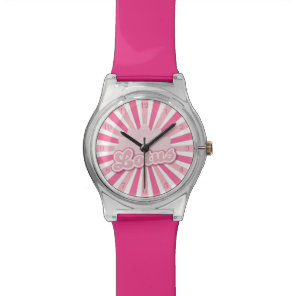 Pink Flower Lotus Wrist Watch