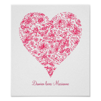 Pink Flower Love Heart Personalised Poster