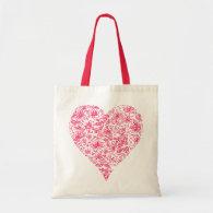 Pink Flower Love Heart Tote Bag