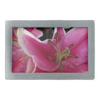 Pink flower magic rectangular belt buckle