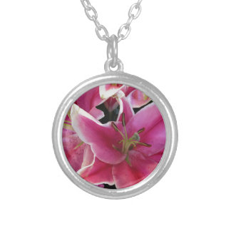Pink flower magic silver plated necklace