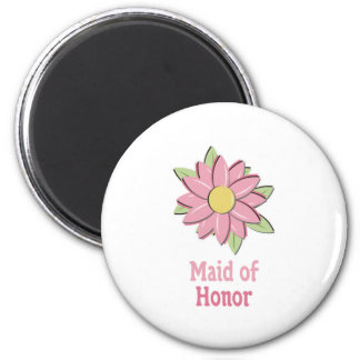 Pink Flower Maid of Honor Magnet