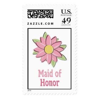 Pink Flower Maid of Honor Postage Stamp