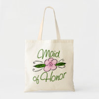 Pink Flower Maid of Honor Tote Bag