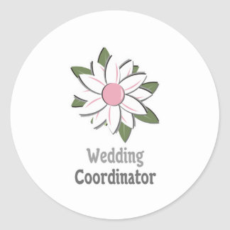 Pink Flower Male Wedding Coordinator Classic Round Sticker