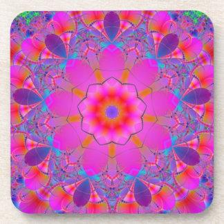 Pink Flower Mandala Drink Coaster