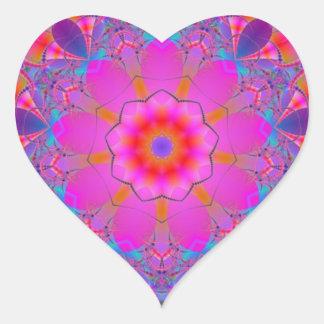 Pink Flower Mandala Heart Sticker