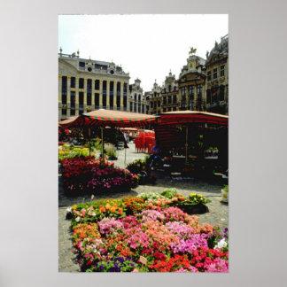 Pink Flower market in main square, Brussels, Belgi Poster