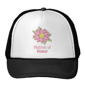 Pink Flower Matron of Honor Trucker Hat