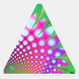 Pink Flower modern abstract art fractal Triangle Sticker