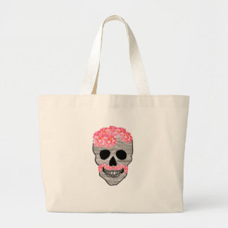 Pink Flower Mustache Hipster Day of the Dead Skull Large Tote Bag