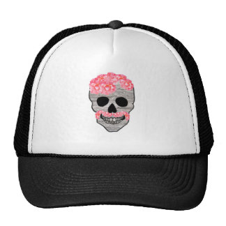 Pink Flower Mustache Hipster Day of the Dead Skull Trucker Hat