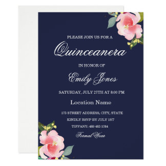 Pink Flower Navy Blue Quinceanera Invitation