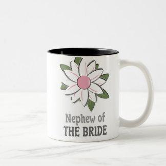 Pink Flower Nephew of the Bride Two-Tone Coffee Mug