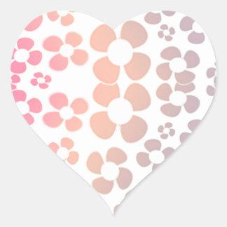 Pink Flower Ombre Pattern - Small Flowers Print Heart Sticker