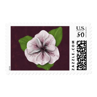Pink Flower on Burgundy Postage