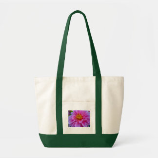 Pink flower on green tote