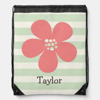 Pink Flower on Pastel Green Stripes Drawstring Backpacks