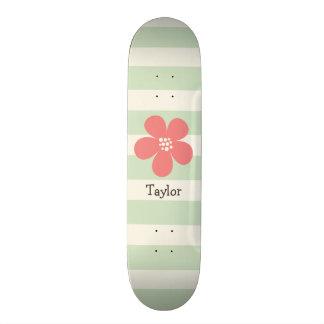 Pink Flower on Pastel Green Stripes Skate Board Deck