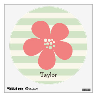 Pink Flower on Pastel Green Stripes Wall Decor