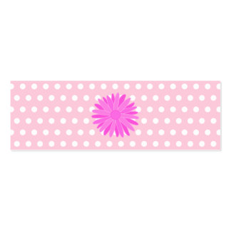 Pink Flower on Polka Dots. Double-Sided Mini Business Cards (Pack Of 20)