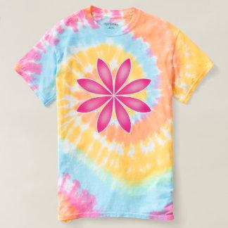 Pink flower on rainbow t-shirt