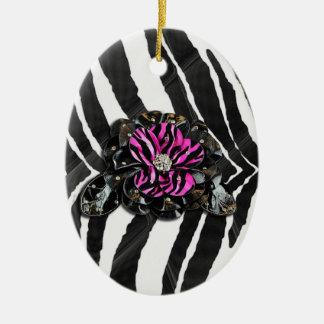 Pink Flower on Zebra Ceramic Ornament