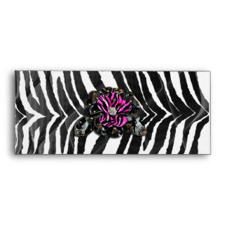 Pink Flower on Zebra Envelope