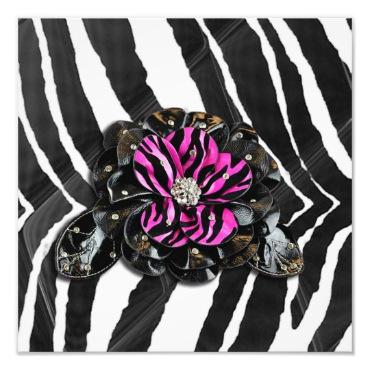 Pink Flower on Zebra Photo Print