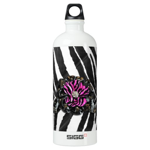 Pink Flower on Zebra SIGG Traveler 1.0L Water Bottle