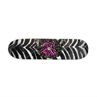 Pink Flower on Zebra Skateboards