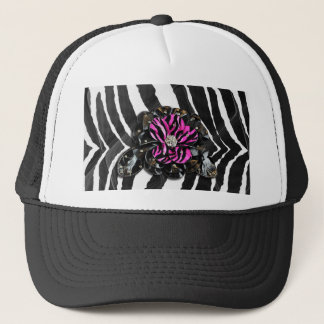Pink Flower on Zebra Trucker Hat
