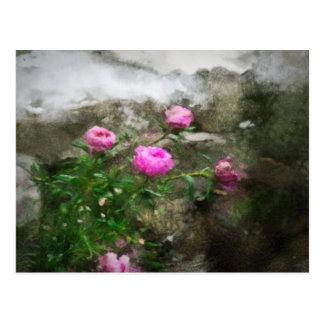 Pink Flower Painting Postcard