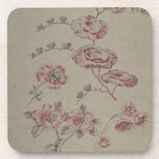 Pink Flower Pattern - French Beverage Coaster
