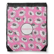 Pink Flower Pattern Girls Monogrammed Drawstring Bag
