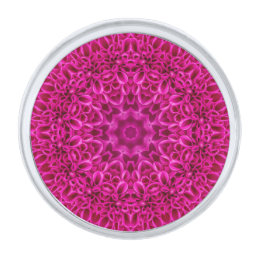 Pink Flower Pattern  Lapel Pins, round or square Silver Finish Lapel Pin