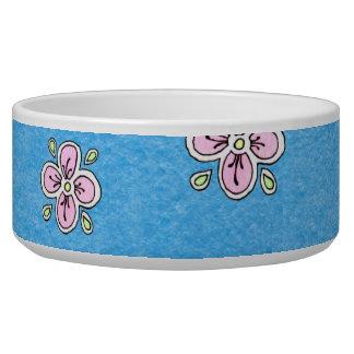 Pink Flower Pattern on Blue Dog Water Bowl