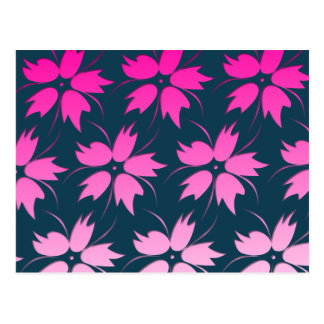 Pink Flower Pattern Postcard